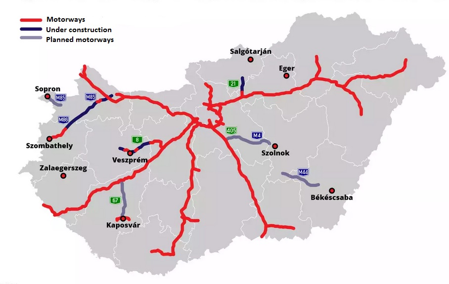 Motorways in Hungary (source: index.hu)
