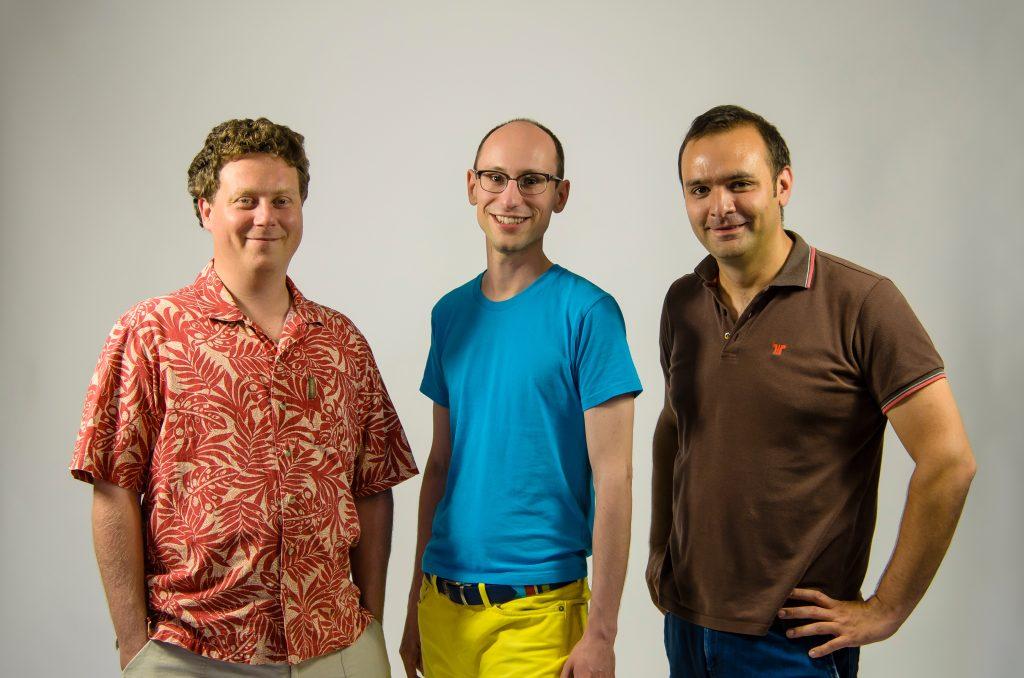 Prezi's founders: Péter Halácsy (left), Péter Árvay (center), and Ádám Somlai-Fischer (right) (Photo: szeretlekmagyarorszag.hu)