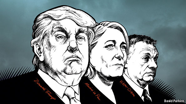 The Economits's front page with Donald Trump, Marine Le Pen and Viktor Orbán