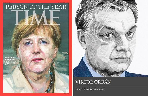 Angela Merkel on Time's cover and Viktor Orbán portrayed by politico.eu