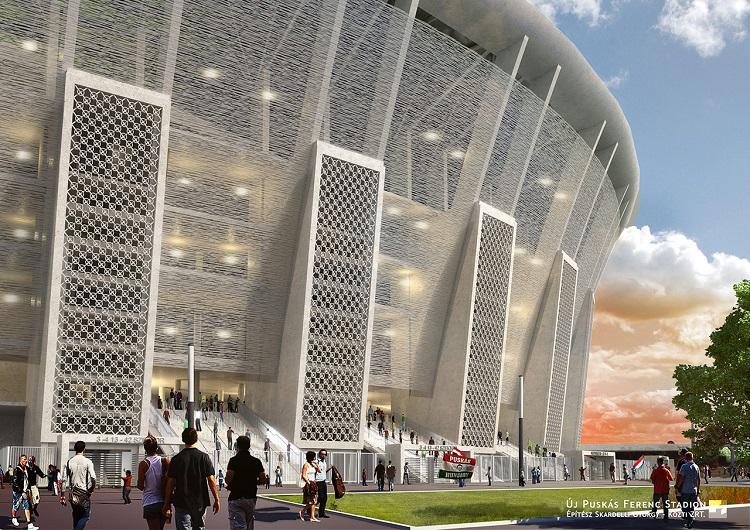 Budapest, 2015. június 2. A Nemzeti Fejlesztési Minisztérium által közreadott, a Közti Zrt., Középülettervező Zártkörűen Működő Részvénytársaság látványtervén az új Puskás Ferenc Stadion látható. Ősszel elkezdődhet a Puskás Ferenc Stadion bontása, 2016-ban elindul az új létesítmény építése és legkésőbb 2019-re befejeződnek a munkálatok - mondta Fürjes Balázs budapesti beruházásokért felelős kormánybiztos az M1 aktuális csatornán május 25-én. Az új létesítmény amellett, hogy labdarúgó mérkőzéseket rendezhetnek majd benne, az ország legnagyobb koncerthelyszíne lesz, továbbá 1000-1500 fős konferenciákat is tarthatnak majd benne. MTI Fotó: Közti Zrt.