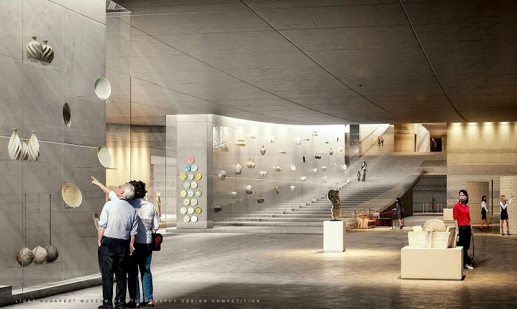Budapest, 2016. május 17. A Városliget Zrt. által, a Néprajzi Múzeum új épületére kiírt nemzetközi építészeti tervpályázat nyertesének, a Napur Architect Kft. által vezetett konzorciumnak a látványterve, amely ezen a napon, 2016. május 17-én vált hozzáférhetõvé. A Néprajzi Múzeum minden szakmai és látogató igényt kielégítõ új épülete a tervek szerint 2019-ben készül el a Liget Budapest projekt keretében, az Ötvenhatosok terén. MTI Fotó: Napur Architect Kft.
