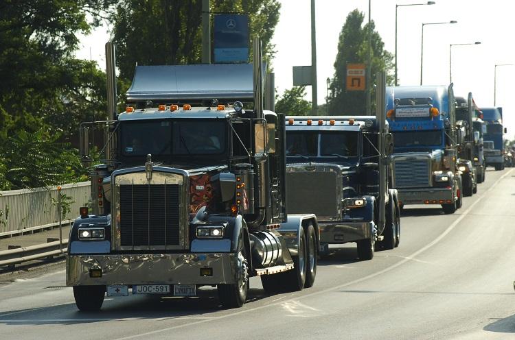 Szeged, kamionos felvonulás a belvárosban Fotó: Frank Yvette
