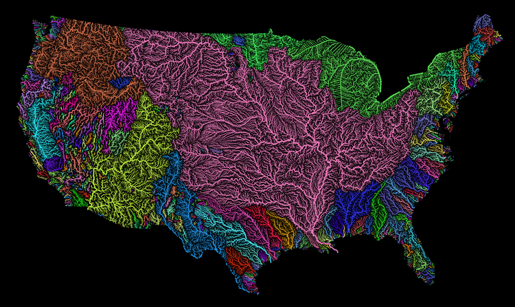 Best Ever Visualization About River Basins Of USA Made By A Hungarian Geographer post's picture