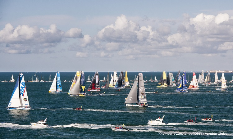 Fleet at start of the Vendee Globe, in Les Sables d'Olonne, France, on November 6th, 2016 - Photo Vincent Curutchet / DPPI Flotte au départ du Vendée Globe, aux Sables d'Olonne le 6 Novembre 2016 - Photo Vincent Curutchet / DPPI