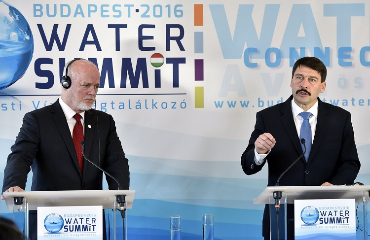 President of the Republic of Hungary János Áder with Peter Thomson, President of the General Assembly of the United Nations, on the first day of the Budapest Water Summit. MTI Fotó: Máthé Zoltán