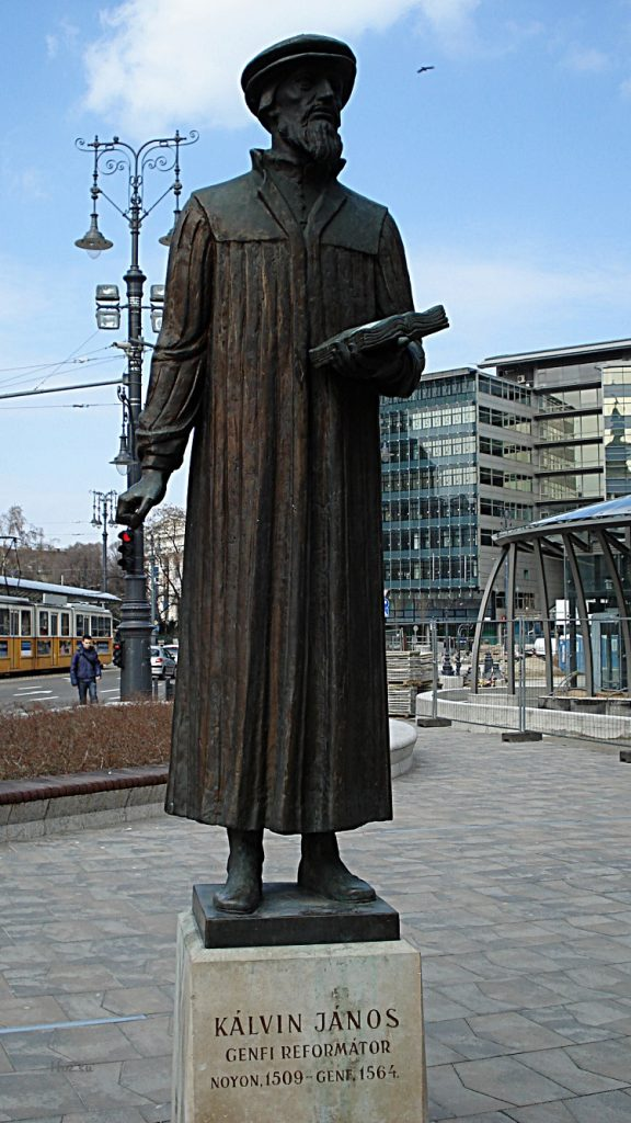 The statue of John Calvin in front of the Calvinist Church on Kálvin Square in Budapest.
