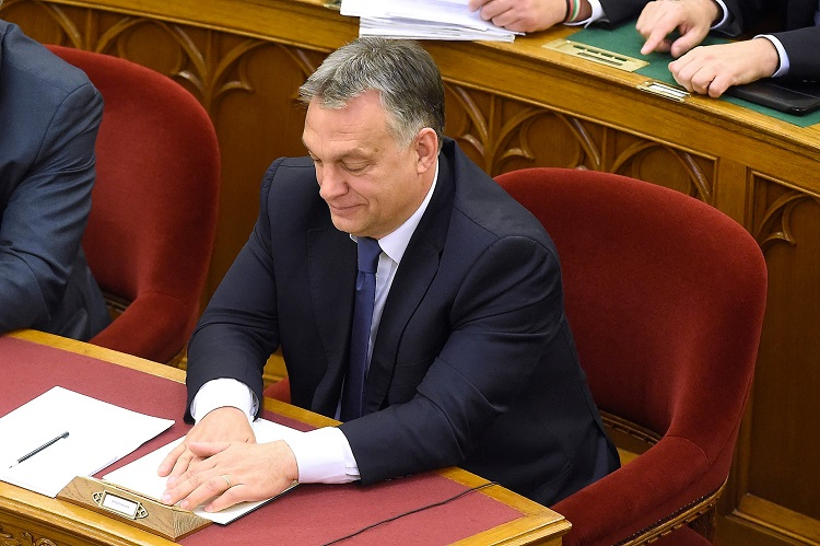 PM Viktor Orbán during the parliamentary vote (Photo via Kovács Tamás - MTI).