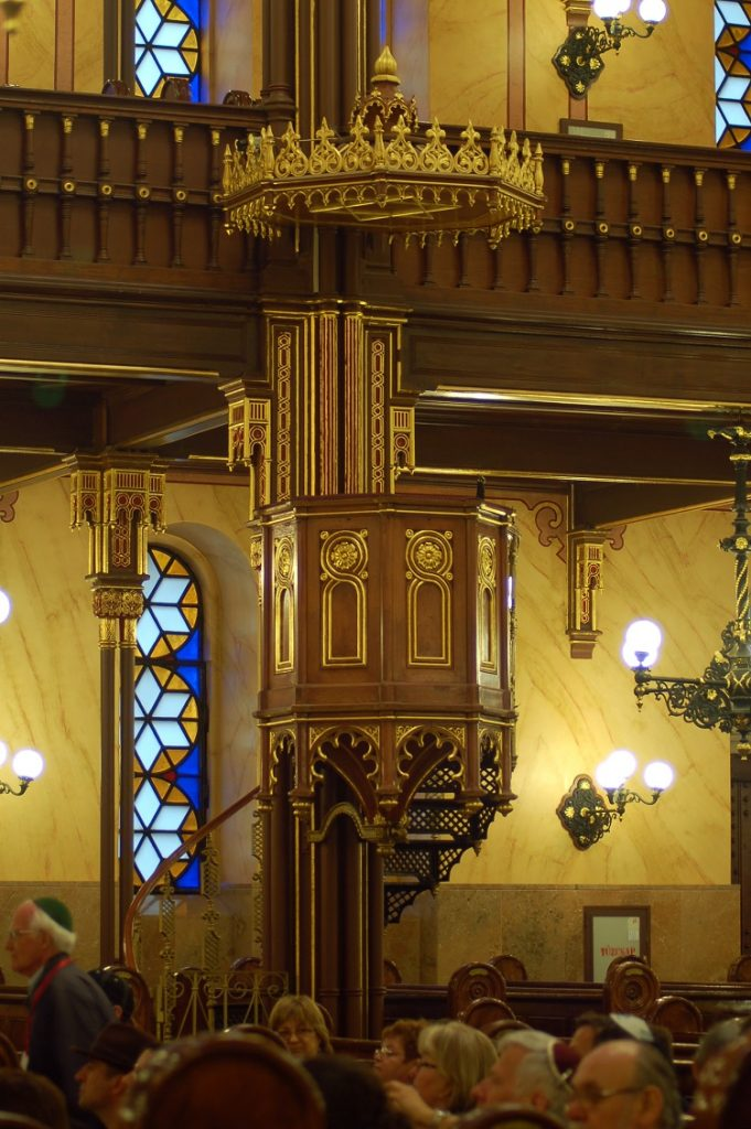 The Synagogue's pulpit; note the similarities to pulpits found in Catholic churches.