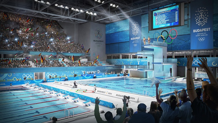 Budapest, 2017. január 4. A Budapest 2024 által 2017. január 4-én közölt legfrissebb aktuális látványterv a Dagály Úszóarénáról, az esetleges 2024-es budapesti olimpia úszó-, mûugró- és szinkronúszó-versenyeinek, valamint vízilabdadöntõinek helyszínérõl. A látványtervet a Brick Visual, az építési terveket a BORD Építész Stúdió készítette. A 2024-es olimpia rendezési jogáért a magyar fõváros Los Angelesszel és Párizzsal verseng, a Nemzetközi Olimpiai Bizottság (NOB) szeptember 13-án, Limában dönt a helyszínrõl. MTI Fotó