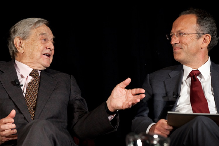 Billionaire investor George Soros and President of the Open Society Foundations Christopher Stone