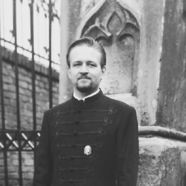 Sebastian Gorka, wearing a traditional 'Bocskai' jacket and the Order of Vitéz medal in an undated photo