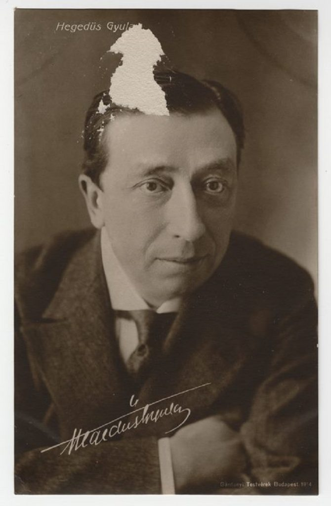 "Photograph of the star of ""A Munkászubbony,"" Gyula Hegedűs."
