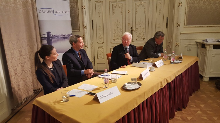 From left to right: panelists Julia Lakatos and Frank Füredi, Danube Institute President John O'Sullivan, and panelist Charles Crawford.