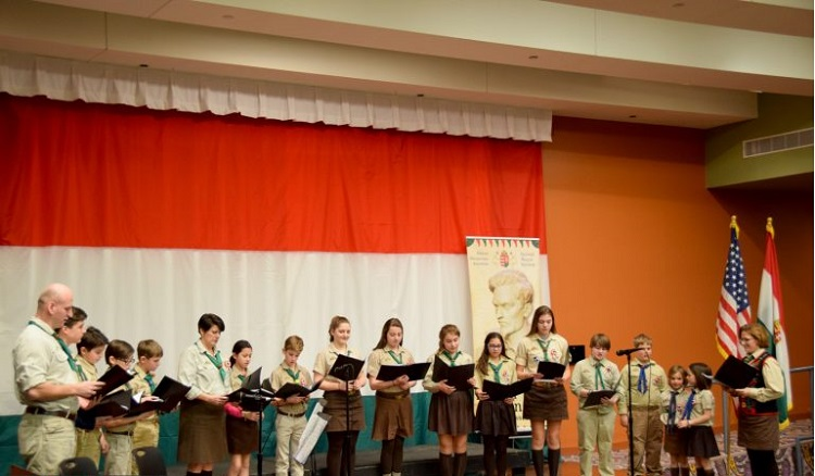 Members of Cleveland's Hungarian scout troops perform at the 1848 commemoration held inside the Cleveland Public Library (Photo- Bocskai Rádió)