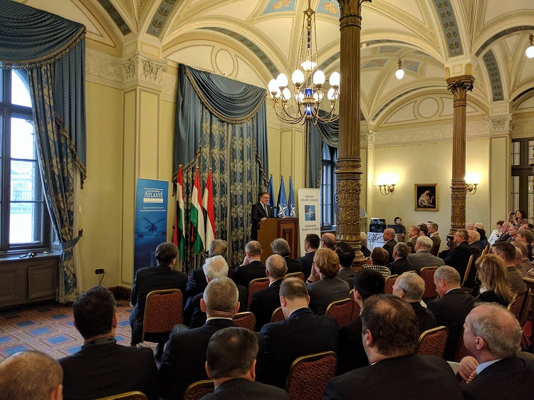 Tacan Ildem, NATO's Assistant Secretary General for Public Diplomacy, at a conference at the Hungarian Academy of Sciences celebrating the 25th anniversary of the Hungarian Atlantic Council