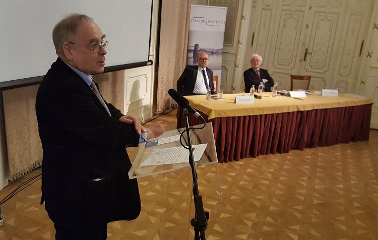 MEP György Schöpflin, with Polish MEP Rsyszard Legutko and Danube Institute President John O'Sullivan in the background.