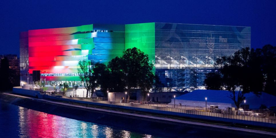 Spectacular Light Painting On The Façade Of The Brand New Danube Arena post's picture