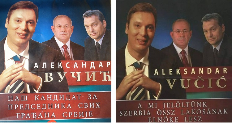 "A campaign that would have been unimaginable a few years ago: Vučić, Pásztor and Orbán . The caption, in both Hungarian and Serbian, reads ""(source: Facebook)"