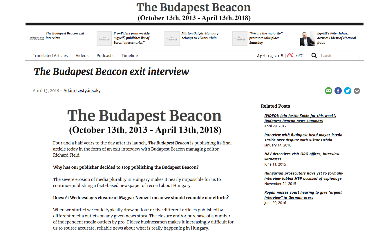 Independent English-Language News Site Budapest Beacon Ceases Publication Just Days After Magyar Nemzet's Closure post's picture