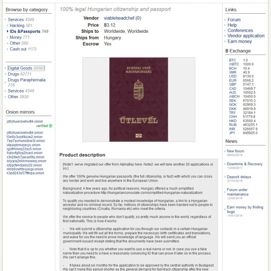 Wow! Really? You Can Buy Hungarian Citizenship on the Dark