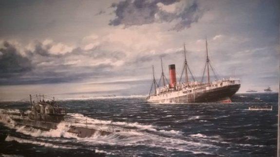 The sinking of Cunard's RMS Carpathia by U-55 off the Irish coast on 17th July 1918