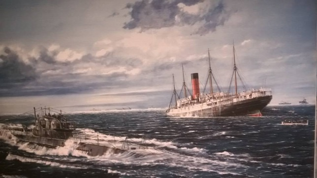 The sinking of Cunard's RMS Carpathia by U-55 off the Irish coast on 17th July 1918