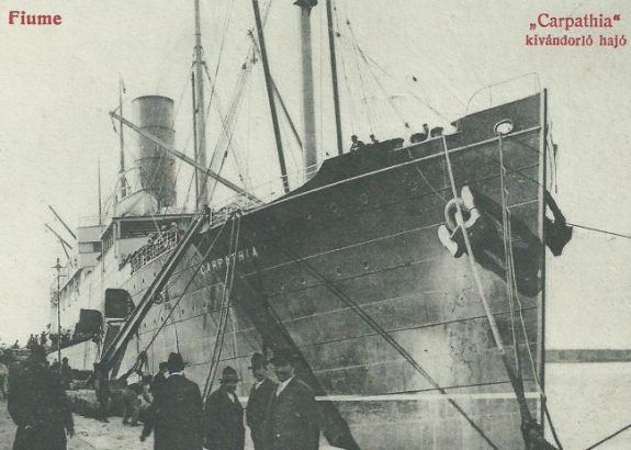 Carpathia at Fiume's port Via: titanicgazette.com