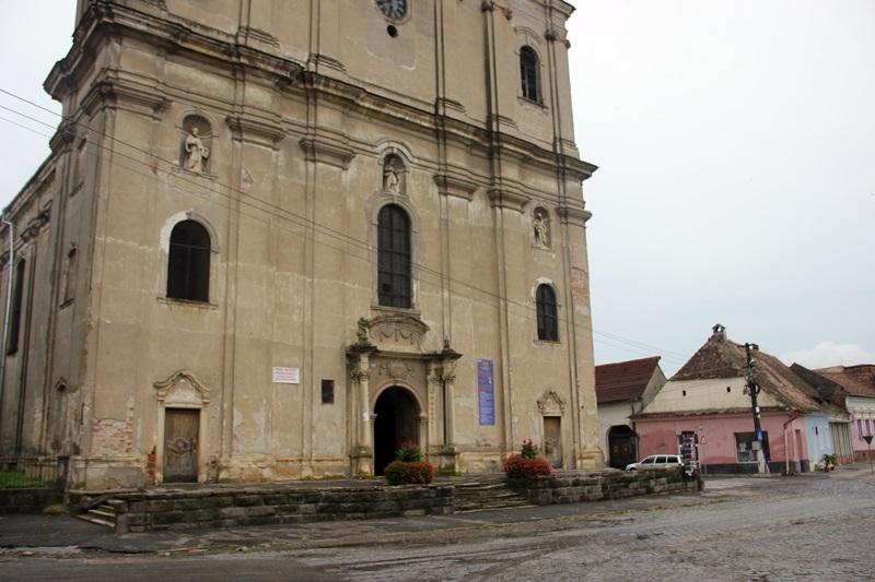 The Armenian Catholic church in the main square of Dumbrăveni