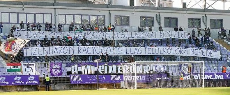 Hungarian Football Supporters Commemorate the Martyrs of Arad on Banners post's picture