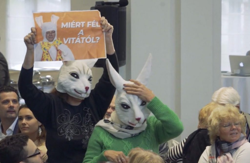 Budapest Mayor's Speech Disturbed by Rabbit-Masked Opposition Activists post's picture