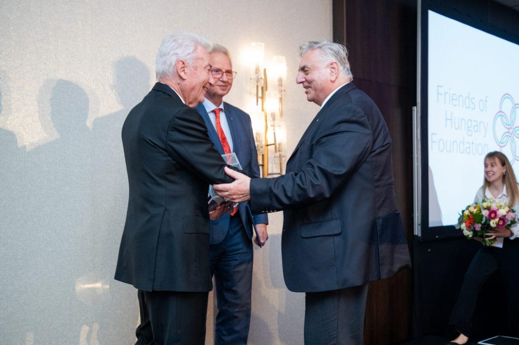 E. Sylvester Vizi (Chair of the Friends of Hungary Foundation's Board of Trustees), Fidesz MEP László Trócsány, and András Smuk.