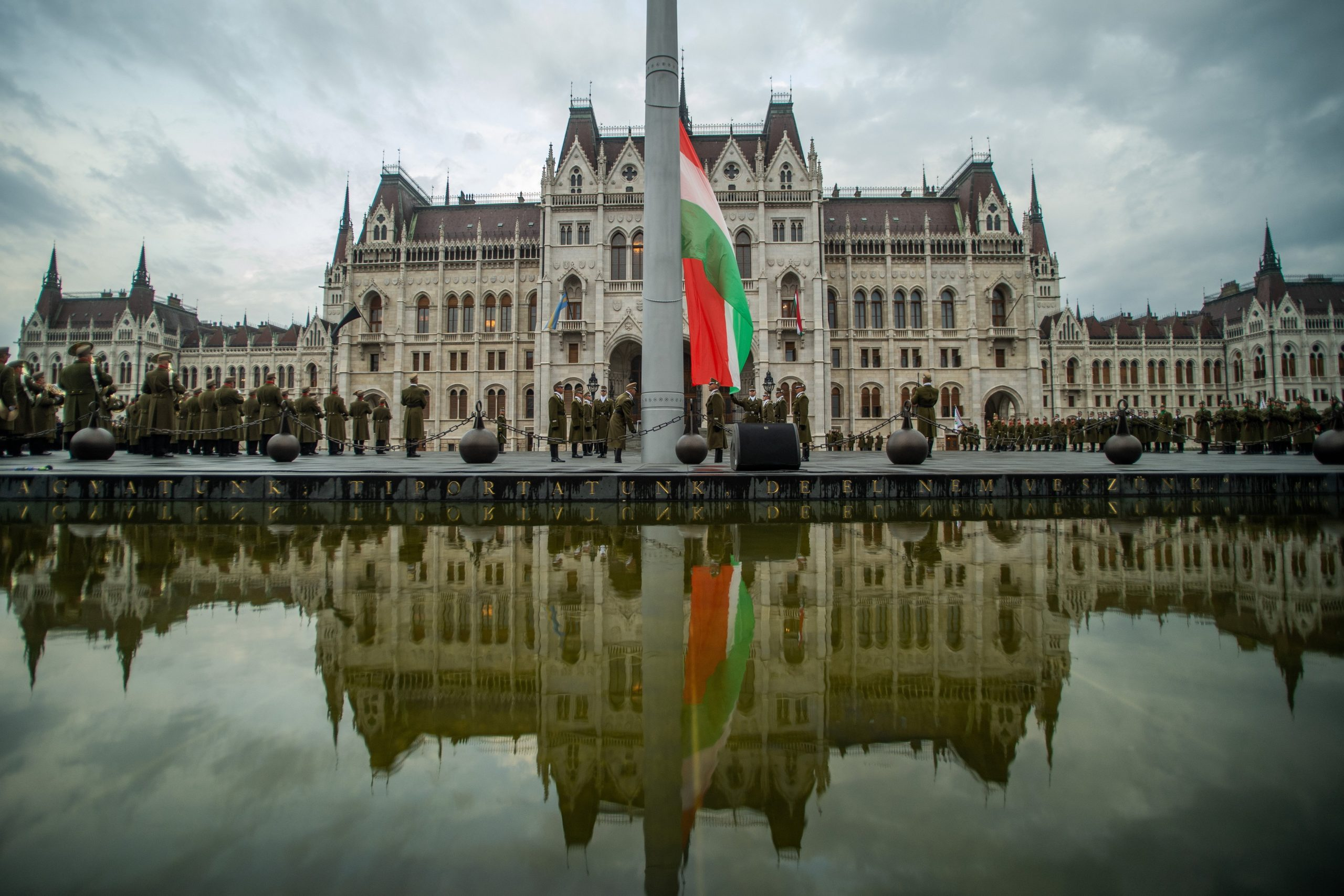 Flag Hoisted in Front of Parliament on Memorial Day of 1849 Martyrs
